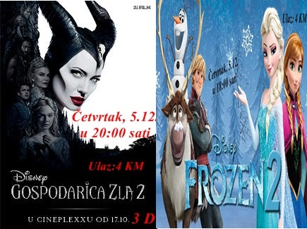 Frozen 2 i Gospodarica zla 2 u Centru za kulturu