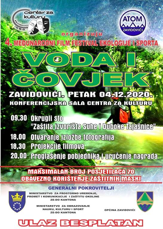 """4.Međunarodni film festival ekologije i sporta """"Voda i čovjek"""""""